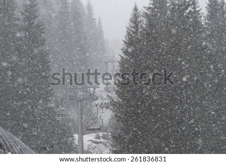 Heavy snowfall in the mountains - stock photo