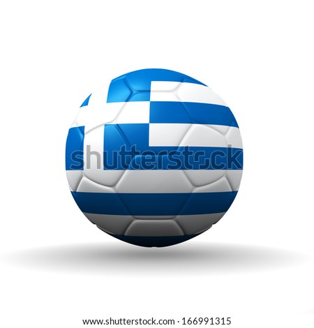 Hellenic Republic  flag textured on soccer ball , clipping path included