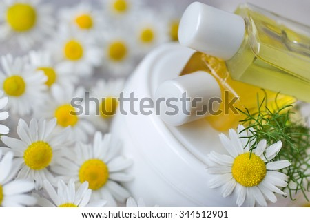 herbal healing creme - camomile  - stock photo