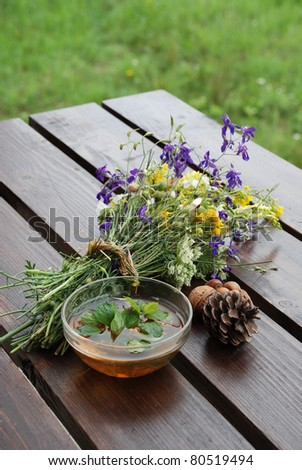 Herbal tea with mint composition - stock photo