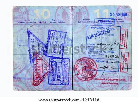 hi res scan of a us passport with asian visa,s