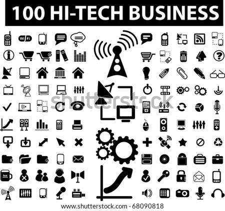 100 hi-tech business signs. raster version - stock photo