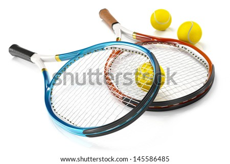 2 high detailed 3D tennis rackets isolated on white reflective background with 3 tennis balls - stock photo