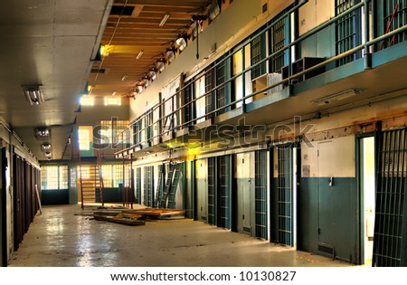 High Dynamic Range Image of a Cell Block of an Abandoned Penitentiary - stock photo