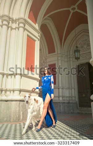 High fashion shot of elegant woman with dog in long blue dress with deep slit, outdoor