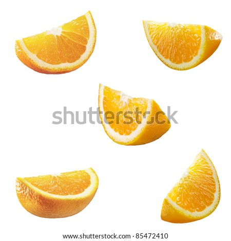 5 high resolution orange parts isolated on white - stock photo