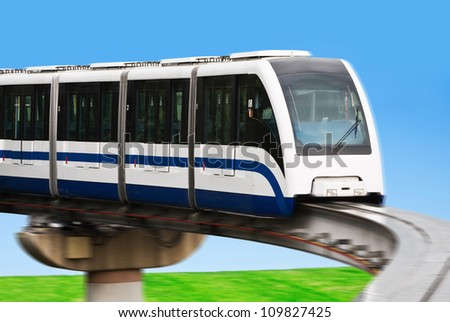 High Speed Monorail Train in a landscape - stock photo