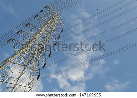 High voltage pole  and Power lines against the sky