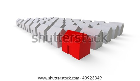 highlighting red home icon - stock photo