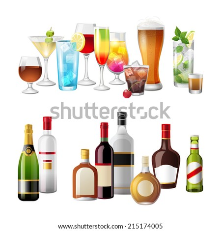 2 highly detailed borders with alcohol drinks - stock photo