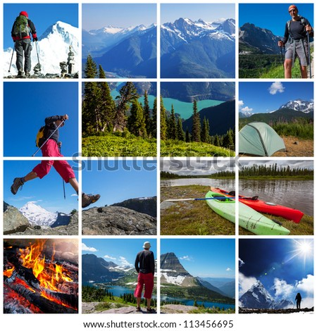 hiking collage - stock photo