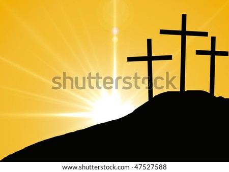 Hill with three crosses.Symbol of Golgotha, or Calvary, the hill on which Jesus was crucified - stock photo