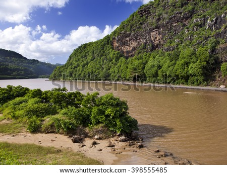 hills and river. Mauritius. - stock photo
