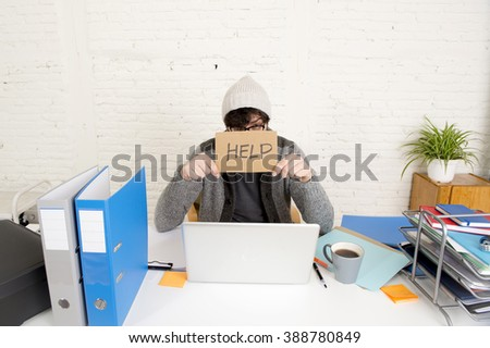 hispanic hipster 30s businessman working tired at modern home office with computer laptop dressing casual asking for help looking overworked  suffering stress - stock photo