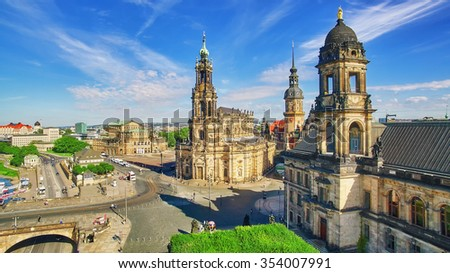 Histoirical center of the Dresden Old Town,  Zwinger, Theatre Square (Theaterplatz)Katholische Hofkirche.Dresden has a long history as the capital Saxony. - stock photo