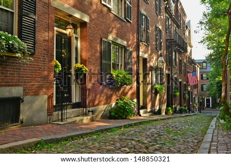 Historic Acorn Street in Beacon Hill is one of the most picturesque street in the United States - stock photo