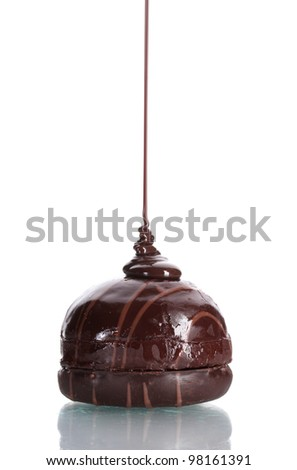 ?hocolate cookie poured chocolate  isolated on white - stock photo