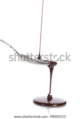 ?hocolate poured into a spoon isolated on white - stock photo