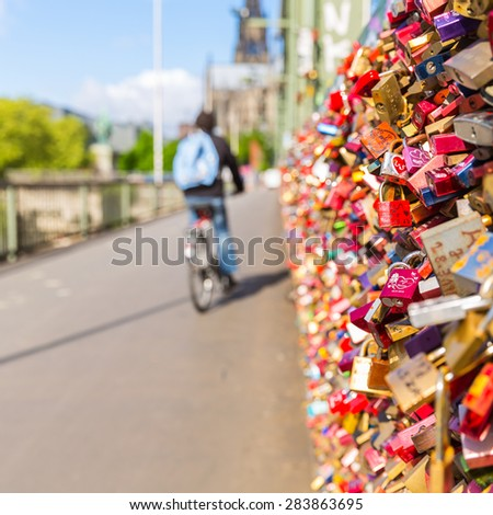 Hohenzollern Bridge with padlocks in cologne - stock photo