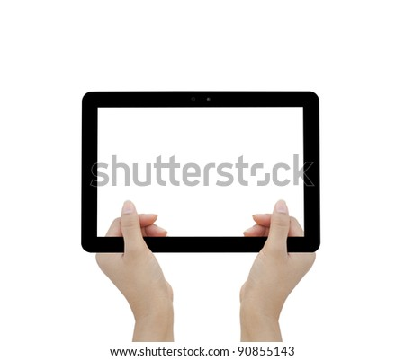 holding tablet computer