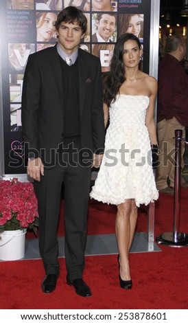 """08/02/2010 - Hollywood - Ashton Kutcher and Demi Moore at the World Premiere of """"Valentine's Day"""" held at the Grauman's Chinese Theater in Hollywood, California, United States. - stock photo"""