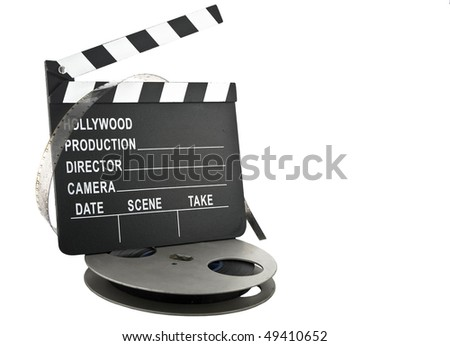 hollywood clapper slate with film reel - stock photo
