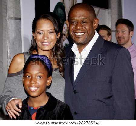 "09/11/2009 - Hollywood - Forest Whitaker, Keisha Nash and Sonnet Noel Whitaker at the World Premiere of ""Old Dogs"" held at the El Capitan Theater in Hollywood, California, United States.  - stock photo"
