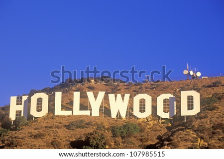 Â?Â?Hollywood sign on the hillsides of Hollywood, Los Angeles, California - stock photo
