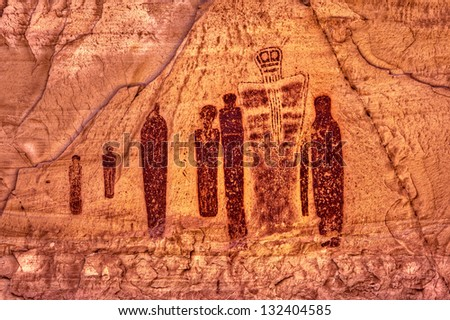 """Holy Ghost and Companions"" Indian Rock Art, Horseshoe Canyon, Utah - stock photo"