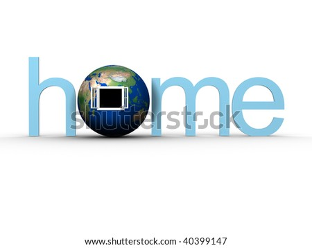 'home' word with Earth glob with window - 3d render. Texture map comes from http://www.shadedrelief.com - stock photo