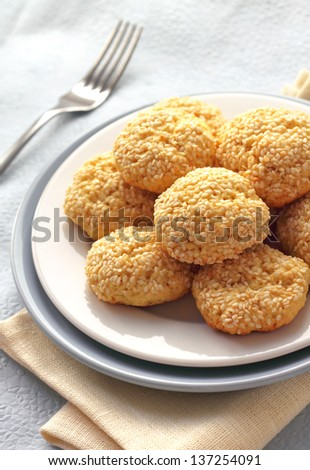 Homemade sweet cookies with sesame seeds
