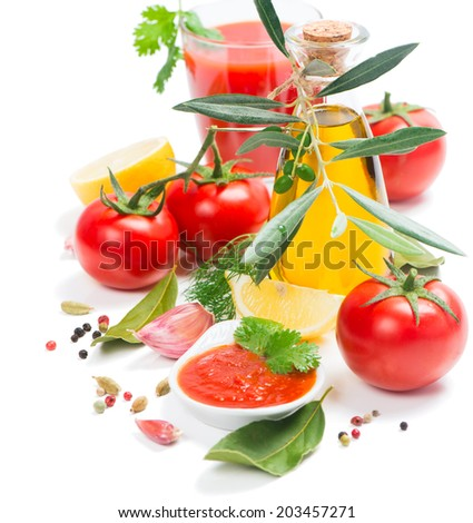 homemade tomato sauce and ingredients isolated on white background