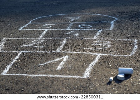 Hopscotch - popular street game/ Hopscotch - stock photo
