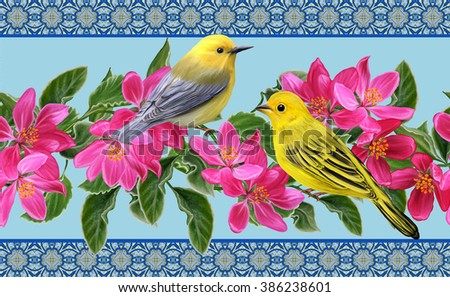 Horizontal floral border. Pattern, seamless. Little yellow bird on a branch of apple blossoms red. - stock photo