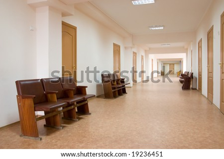 hospital  corridor at evening time - stock photo