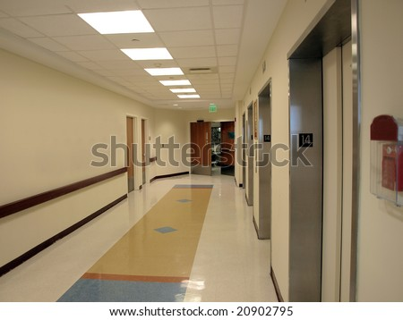 Hospital Hallway and elevator entrance