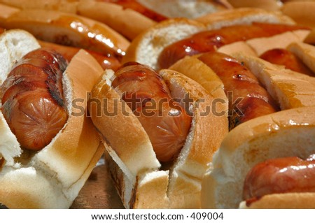 """""""Hot Dogs in Rolls"""" - stock photo"""