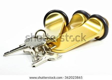 3 hotel keys isolated on white background