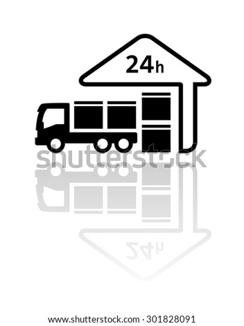 24 hour delivery symbol with load package on truck and store silhouette - stock photo