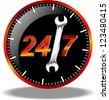 24 hour maintenance logo - stock vector