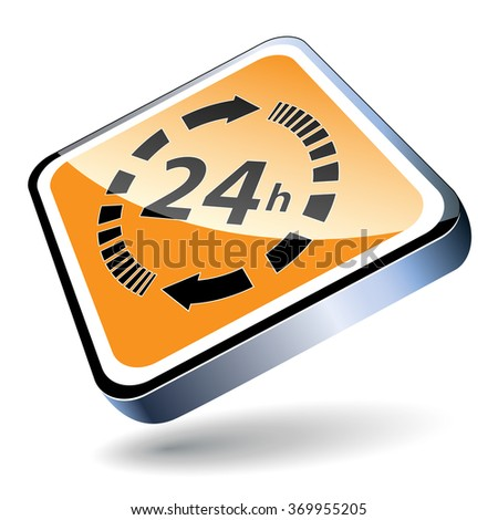 24 hours a day icon isolated on white background. - stock photo