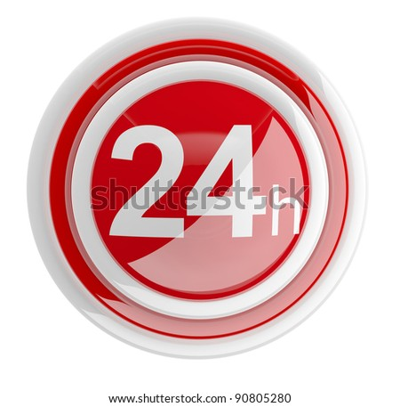 24 hours. 3D icon isolated on white - stock photo