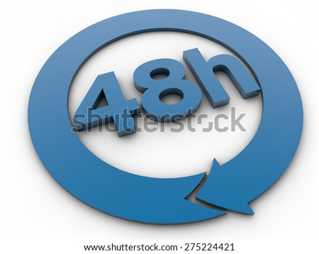 48 hours - 3D Text over white Background - stock photo