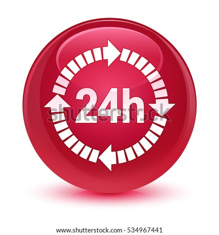 24 hours delivery icon glassy pink round button