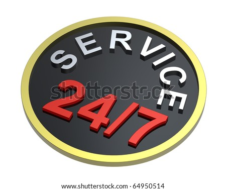 24 hours seven days a week service sign over white. Computer generated 3D photo rendering. - stock photo