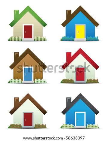 House Icon Set - stock photo