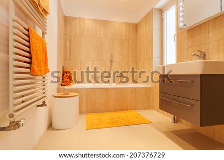 house, modern architecture, interior, bathroom - stock photo