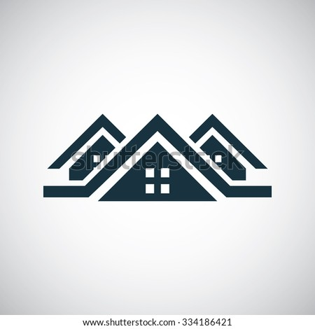 3 houses icon, on white background