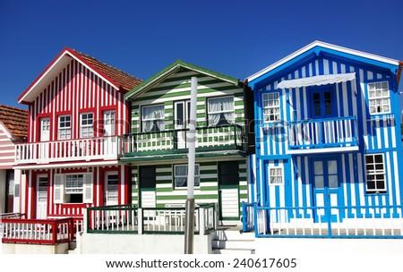 houses of Costa Nova, Aveiro, Portugal - stock photo