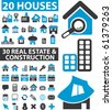 50 houses & real estate signs. - stock photo